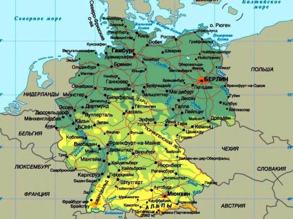 Карта Германии Города Германии Германия на карте