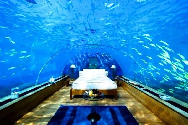 Подводный номер отеля на Мальдивских островах