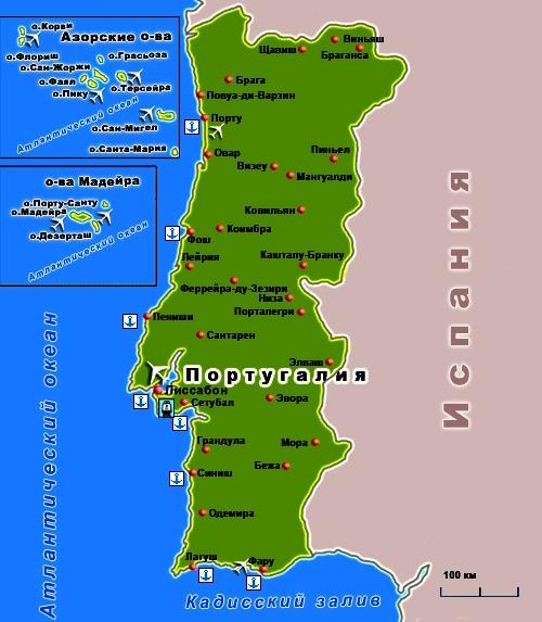Подробная карта с городами и курортами