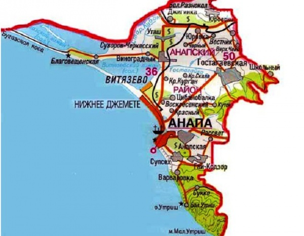 Прибрежная карта Анапы