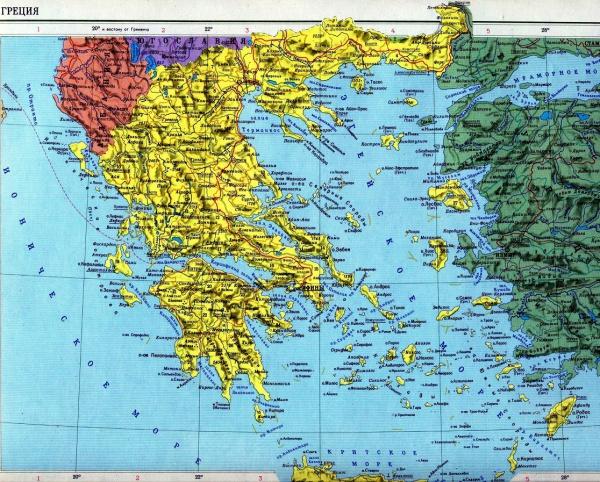 Карта островов Греции