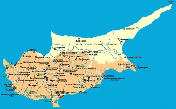 Карта Кипра с курортами и городами
