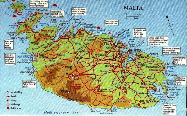 Карта пляжей Мальты