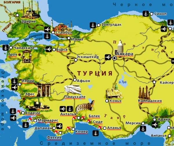 Карта побережья, городов и курортов