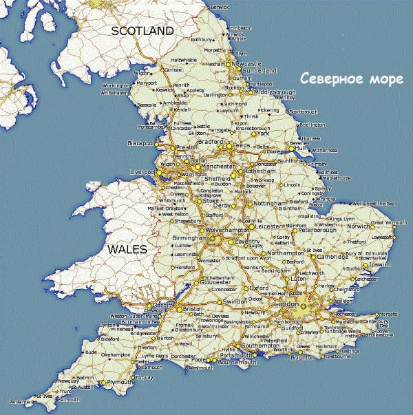 Карта побережья Англии