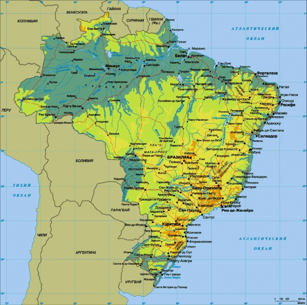 Карта Бразилии с городами и курортами