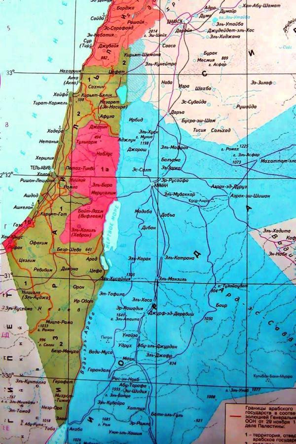 Карта побережья Израиля