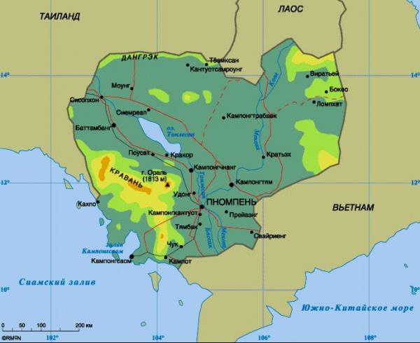 Карта Камбоджи с курортами