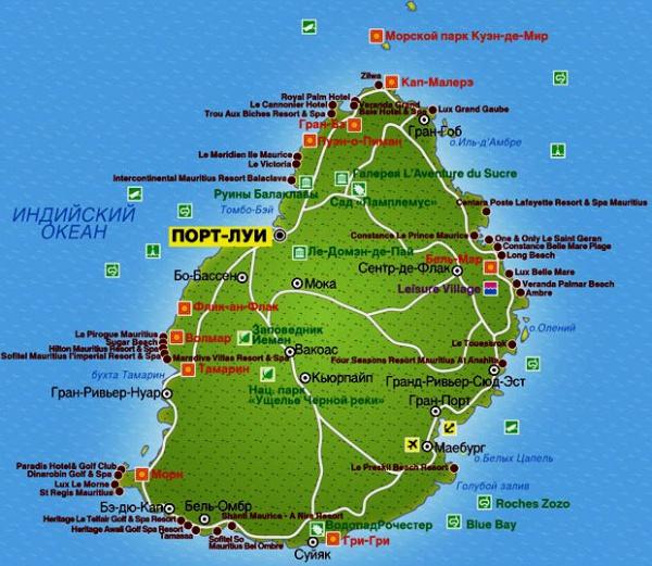 Подробная карта побережья Маврикия