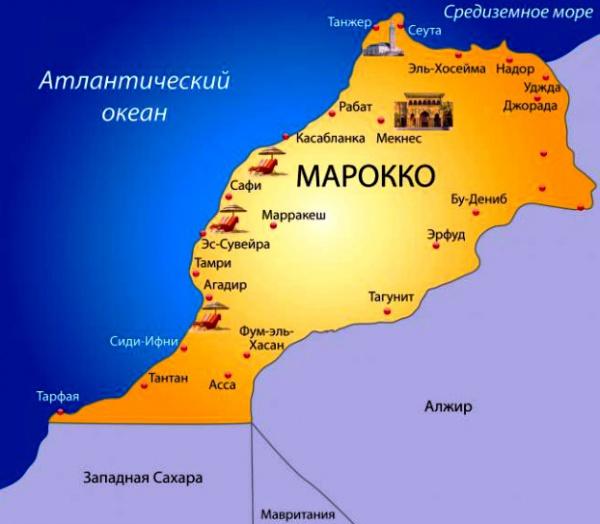 Карта побережья Марокко