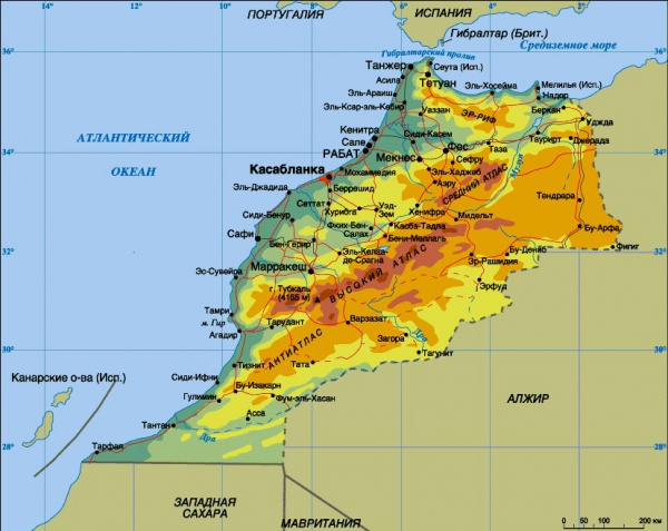 Карта городов и курортов Марокко