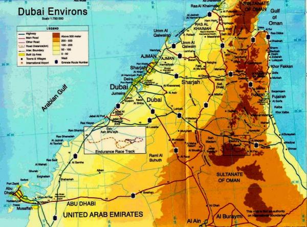 Карта побережья ОАЭ на русском языке