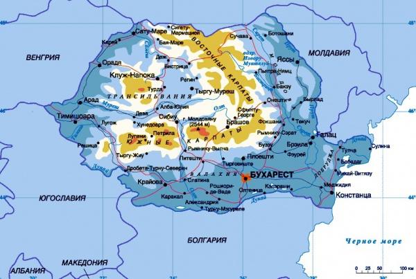Карта Румынии с городами на русском языке