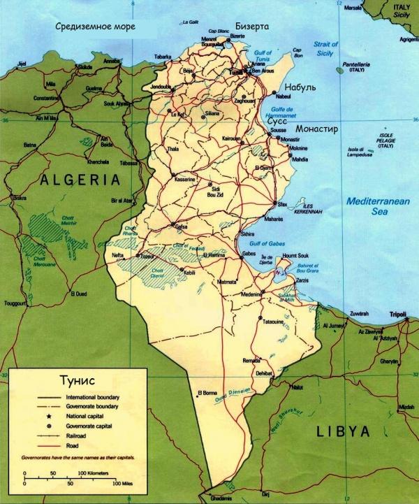 Карта Туниса с городами и курортами на русском