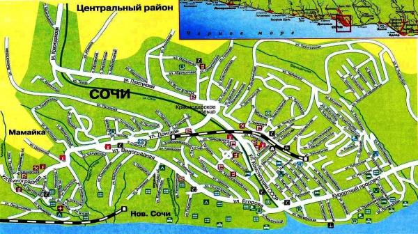 Карта Сочи с городами и поселками