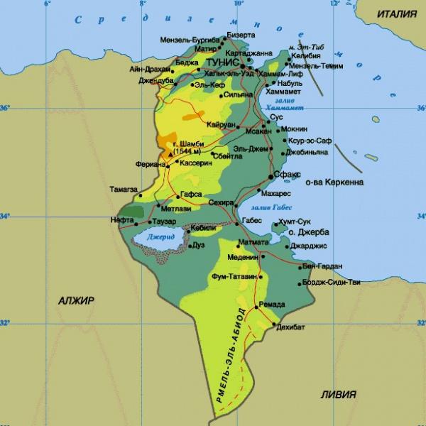 Подробная карта побережья Туниса
