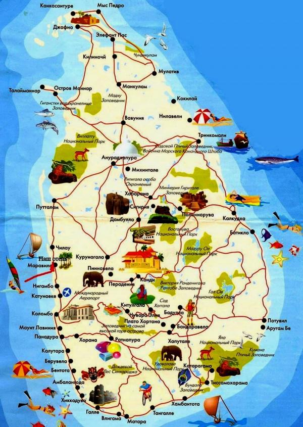 Подробная карта Шри-Ланки с курортами