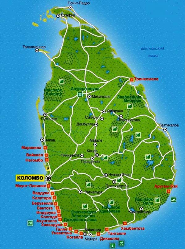 Карта побережья Шри-Ланки