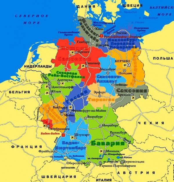 Карта побережья Германии