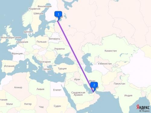 Расстояние от Санкт-Петербурга до Дубая