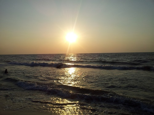 Заход Солнца на море в Негомбо