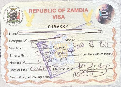Замбийская виза